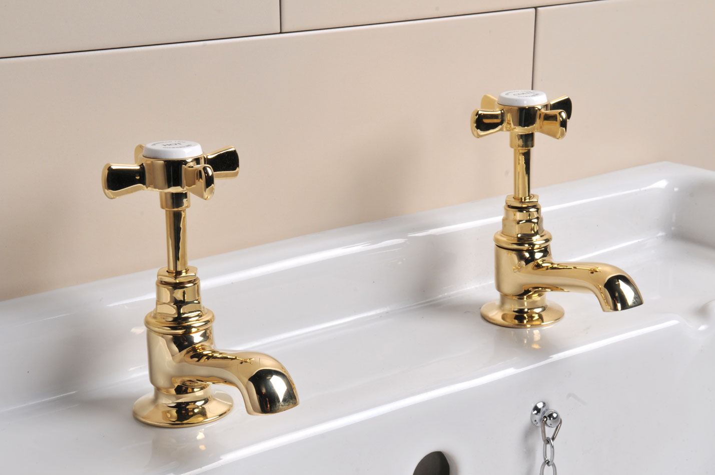 Polished Brass Basin Taps Restored