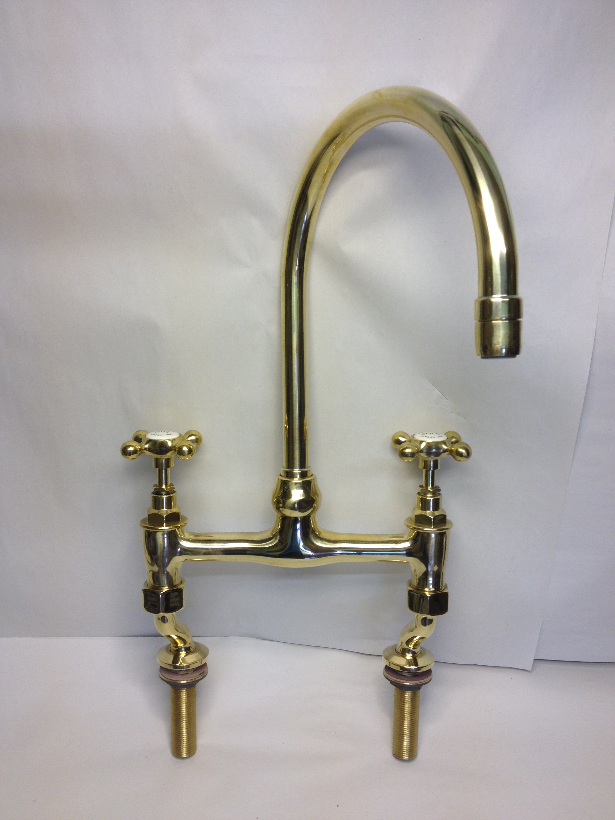 Kitchen Bridge Mixer Taps In Polished Brass For Sale