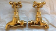 ****   FOR SALE   **** These lovely polished brass bib taps could add a certain grace to your kitchen or utility room. With 1/2″ BSP connections they will fit onto...