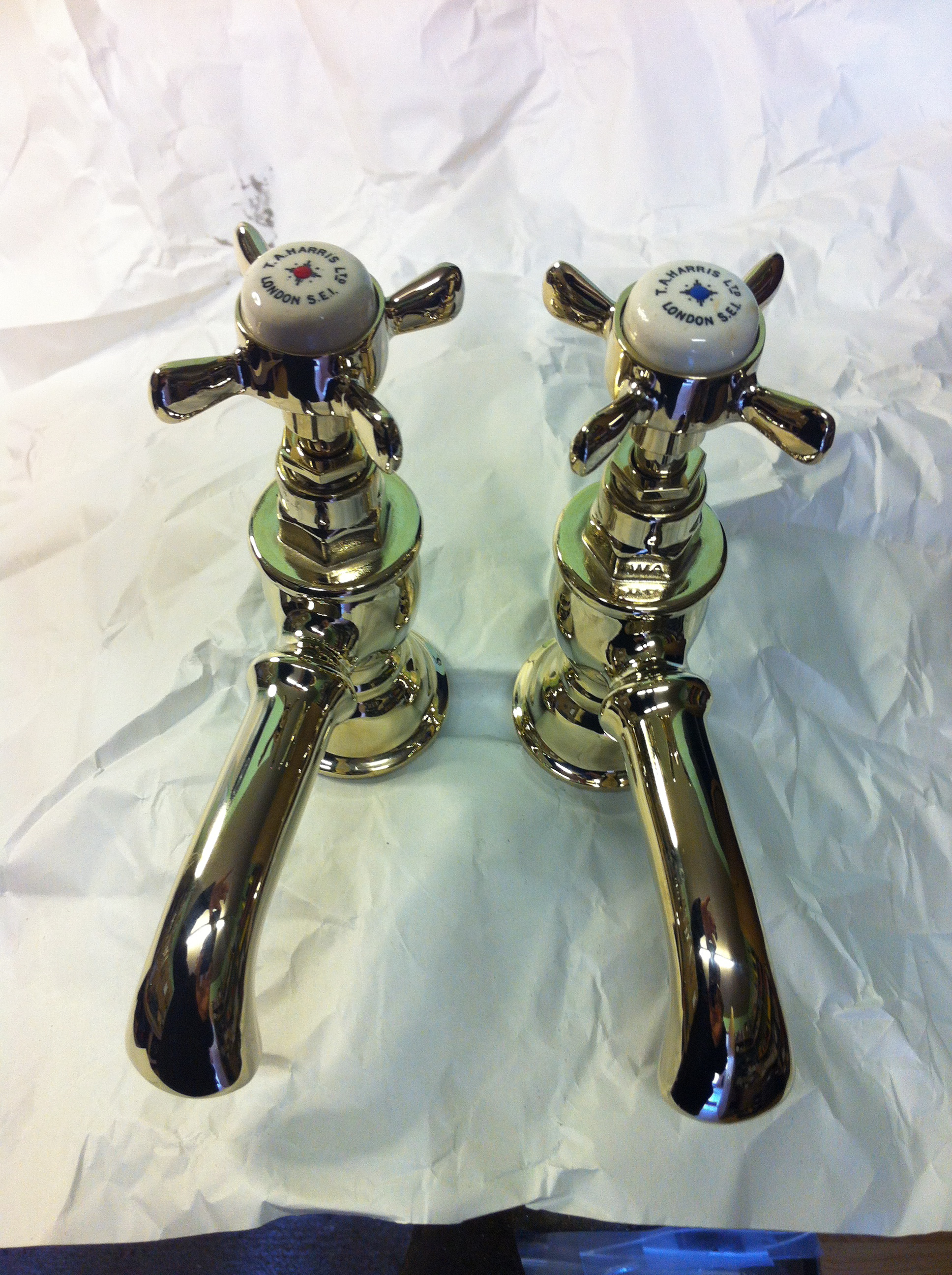 Incalux gold plating  Polished Brass basin taps (T A Harris) – FOR SALE  ada624010