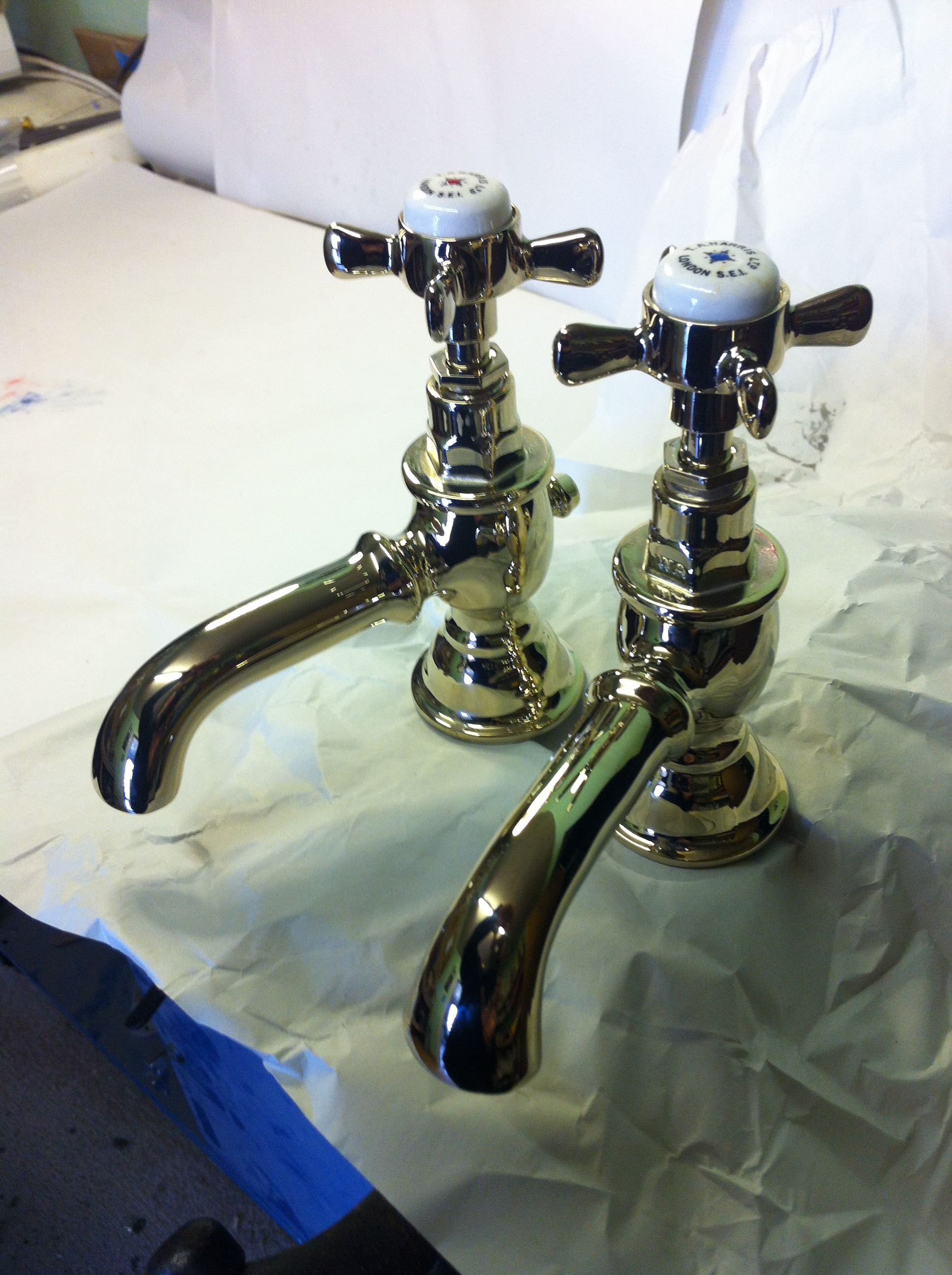 Gold plated basin taps  Polished Brass basin taps (T A Harris) – FOR SALE  fd30a8d4b