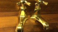 *****  FOR SALE  ***** These shapely basin taps are from the era of Art Deco styling (1920-40′s). They have been stripped of their flaking chrome plate and treated...